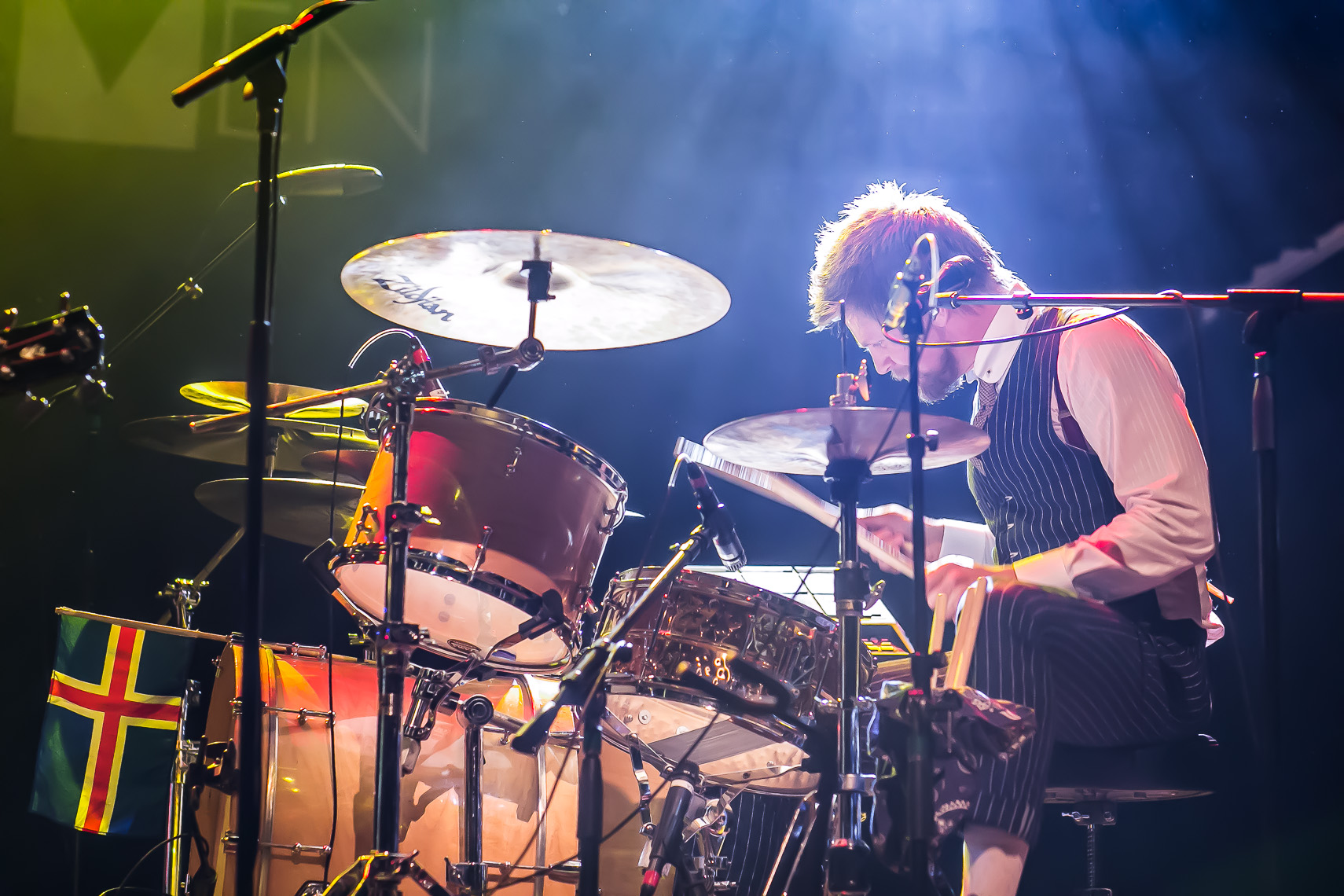 Drummer Arnar Rosenkranz from Of Monsters and Men by music photographer Deborah Lowery